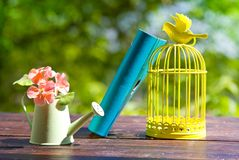 Decorative bird cage, book and flowers in can Royalty Free Stock Image