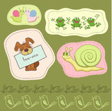 Decorative bird. Dog , frog and snail in frame vector illustration