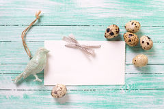 Decorative bird,  Easter eggs and empty tag on wooden background Royalty Free Stock Images