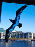Decorative bird made of blue glass Royalty Free Stock Images