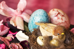 Decorative bird over easter background Stock Photo
