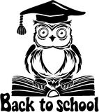 Decorative bird - owl with graduation cap and book Stock Image