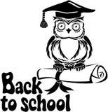 Decorative bird - owl with graduation cap and book Stock Image