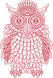Decorative bird - owl is made of lace, isolated on white backgro Stock Images