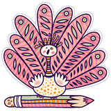 Decorative bird and pencil. Decorative bird with a large tail and small wings sitting on pencil Royalty Free Stock Image