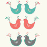 Decorative bird. Set of three pairs Multi Colored birds isolated on white background Stock Photos