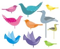 Decorative birds. Illustration of colourful decorative birds could be used as greetings card Royalty Free Stock Photo