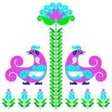 Decorative birds. Vector decorative bird in folk style Stock Photos