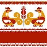 Decorative birds. Vector decorative bird in folk style Royalty Free Stock Photos