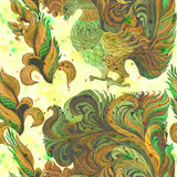 Decorative birds - watercolor. Wallpaper. East style. Seamless pattern.Abstract background image. Use printed materials, signs, it Royalty Free Stock Photos