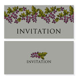 Decorative black currant vector invitation. Royalty Free Stock Image