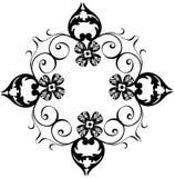 Decorative black flower border Stock Photos
