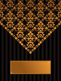 Decorative black and gold background. Decorative background in black and gold with text box Royalty Free Stock Image