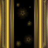 Decorative black and golden frame. Decorative black and golden background with flowers Royalty Free Stock Photography