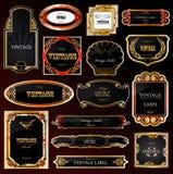Decorative black golden frames labels . Vector Stock Photo