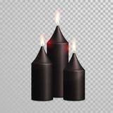 Decorative black golden glitter candle vector  set Royalty Free Stock Photo