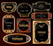 Decorative black golden labels . Vector Royalty Free Stock Photography