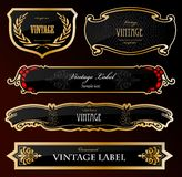 Decorative black golden labels . Vector Royalty Free Stock Image