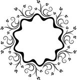 Decorative black lace circle ornament for your design with flora. L branches and leaves Royalty Free Stock Photography