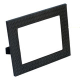 Decorative black leather photo frame isolated on white backgroun Stock Photo