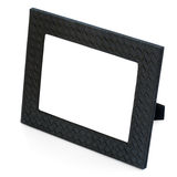 Decorative black leather photo frame  on white backgroun Stock Image