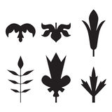 Decorative black leaves pattern set isolated on white .. Various shapes of black leaves. Elements for eco and bio logos Stock Photos
