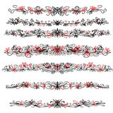 Decorative black lines with red hearts Stock Photo