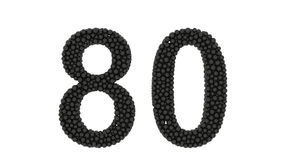 Decorative black number 80 formed of packed balls