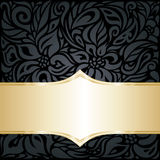 Decorative black & silver floral luxury wallpaper background Stock Photography