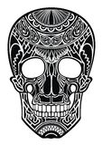 Decorative black skull on white Royalty Free Stock Photo