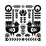 Decorative black and white composition with birds and decorative floral elements. vector illustration