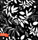 Decorative black and white floral seamless pattern.  Stock Photo