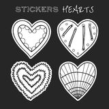 Decorative black and white hearts. Set of stickers on background Stock Image