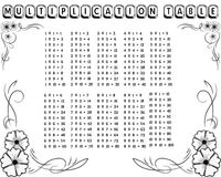 Decorative black and white multiplication table. Between 1 to 10 as educational material for primary school level students - Eps 10 vector and illustration Royalty Free Illustration