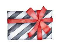 Decorative black and white striped gift box decorated with red satin ribbon bow. One single object, top view. Hand drawn watercolour graphic painting on white