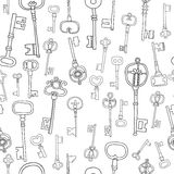 Decorative black and white vintage, antique keys for coloring book Stock Images