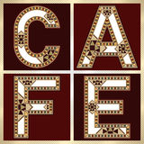 Decorative Block Typography Square CAFE label Royalty Free Stock Photos
