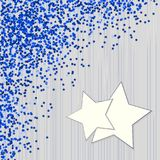 Decorative blue background with confetti from stars Stock Photo
