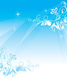 Decorative blue background with floral ornament Stock Photography