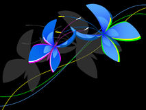 Decorative blue butterflies. Against the black background Stock Photography