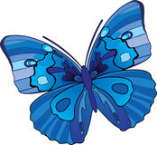 Decorative blue butterfly. Decorative butterfly in blue palette vector illustration