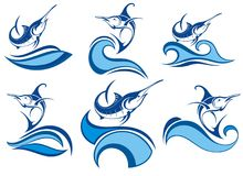 Collection of fish icon with waves. Decorative blue collection of fish icon with waves Royalty Free Stock Photo