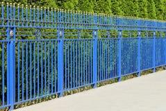 Decorative blue fence. Stock Photo