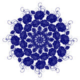 Decorative blue flower. With vintage round patterns Royalty Free Stock Photography
