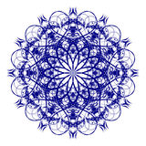 Decorative blue flower. With vintage round patterns Stock Photography