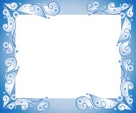 Decorative Blue Frame Border. A decorative background, frame or border with swirling lines and circles in blue and white colors Stock Photos