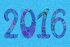 Decorative blue new year numbers 2016 with ornament. Royalty Free Stock Images