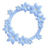Decorative blue papercut border with blue paper flowers. 3D pape. R composition on blue background. Vector EPS 10 Royalty Free Stock Photos