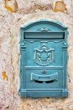Decorative blue vintage mailbox. Royalty Free Stock Image