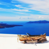Decorative boat in Fira village on Santorini island, Greece Stock Photo